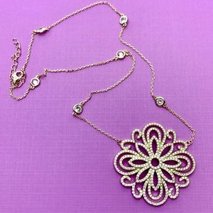 14k GOLD OVER 925 ST SILVER & CZ PENDANT NECKLACE